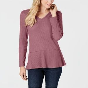 Style & Co Rose V-Neck Thermal Top